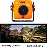 RunCam Swift 2 600TVL FPV Camera Mini 2.3mm for Quad Flying Drones150 Degree OSD WDR DC 5-36V NTSC Integrated MIC for Multicopter Orange With 1 PCS RGB LED BAR