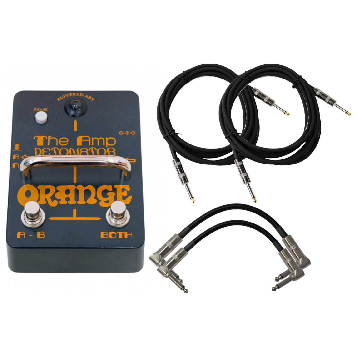 Orange AMP-DETONATOR Buffered Active ABY Stomp Box w/ 4 Cables