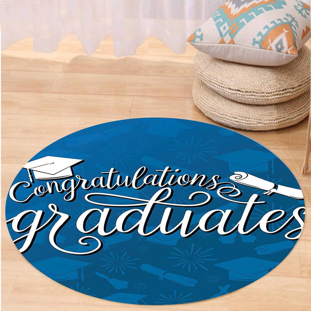 Kisscase Custom carpetGraduation Decor College Celebration Ceremony Certificate Diploma Square Academic Cap for Bedroom Living Room Dorm Blue and White
