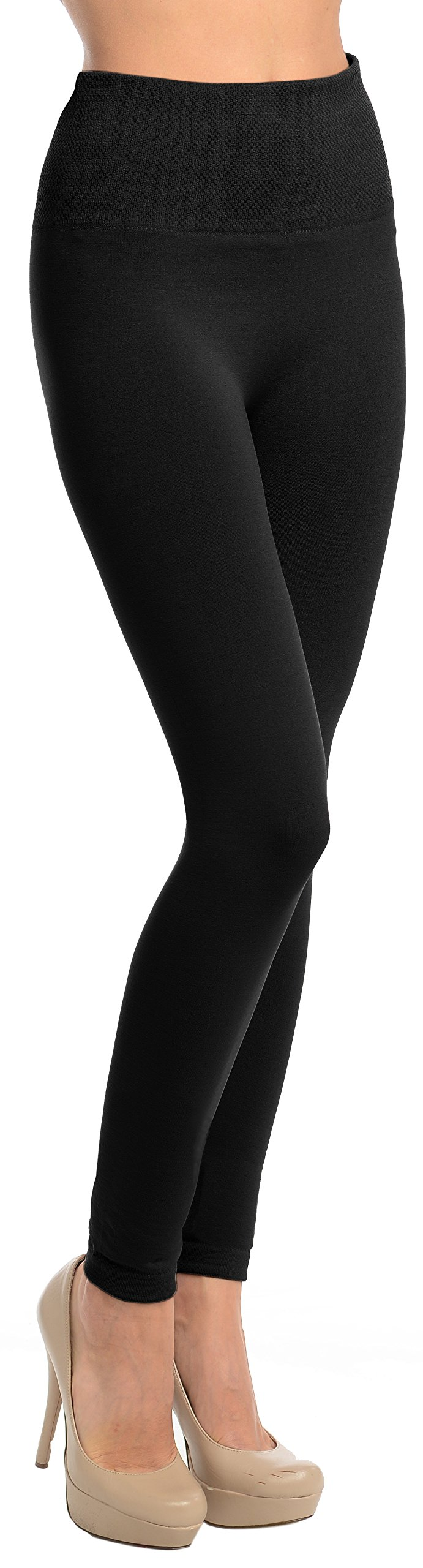 High Waisted Fleece Solid Leggings, Black, One Size: Fits Size XS (0) - L (10)