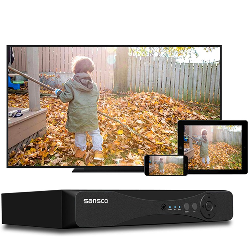 SANSCO CCTV Security Surveillance Cameras System 8-Channel 1080P DVR Recorder Not Including Hard Drive (P2P Technology, Rapid USB Storage Backup, Motion Detection, Mobile App: Xmeye)