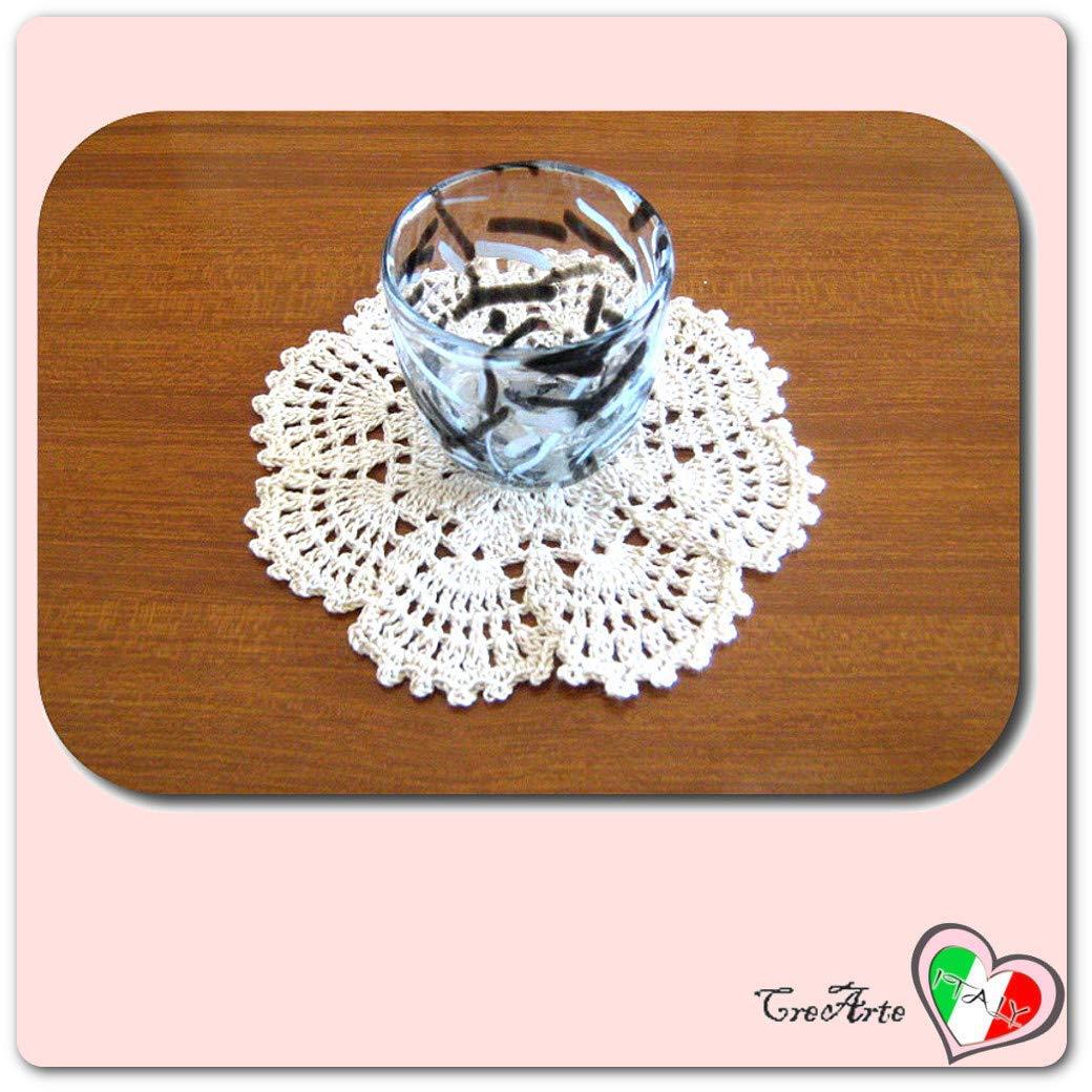 Posavaso redondo blanco de ganchillo - Tamaño: ø 13 cm ...