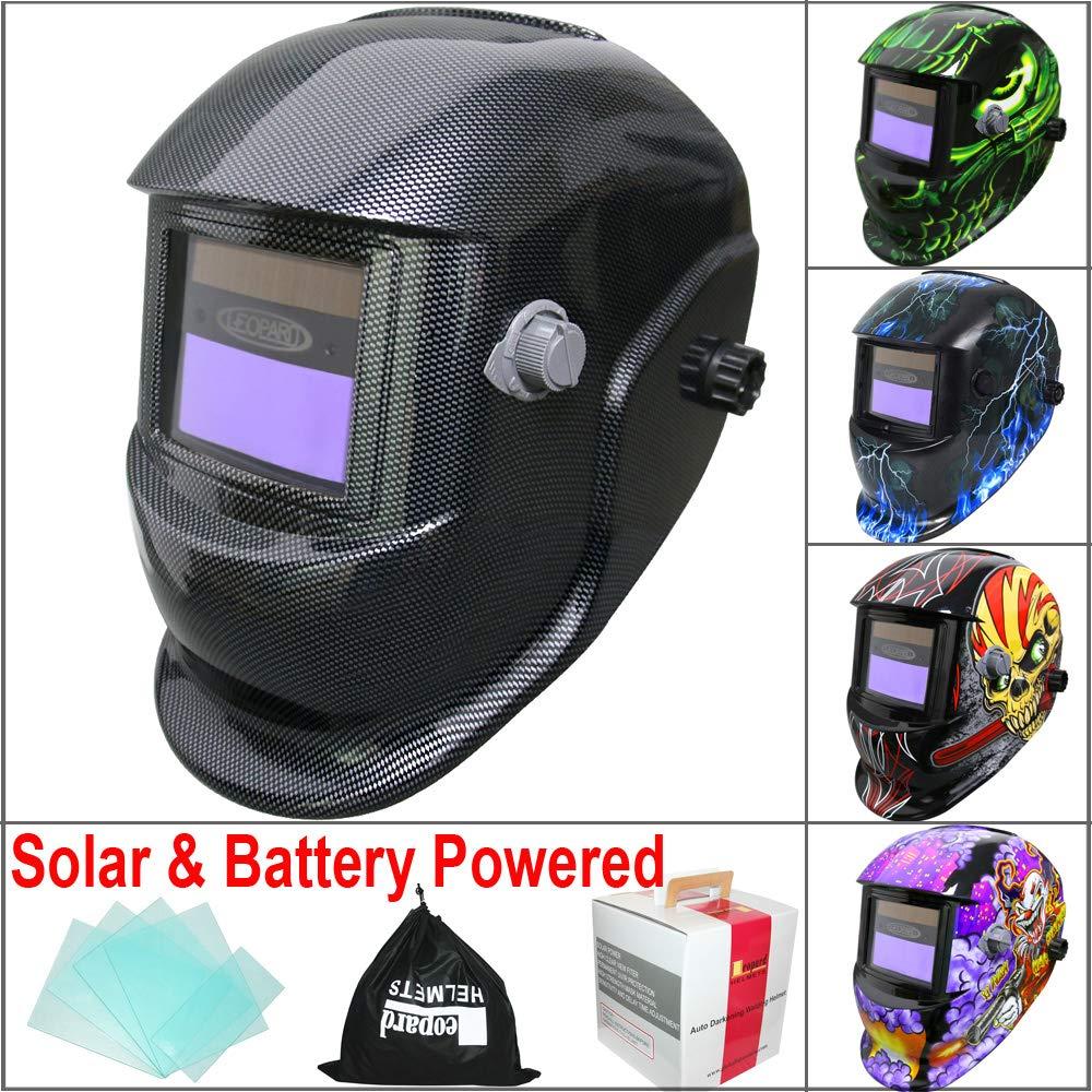 Leopard {Metal} Battery /& Solar Powered Auto Darkening Grinding Wide Shade Range DIN9-13 Welding Helmet Welders Mask