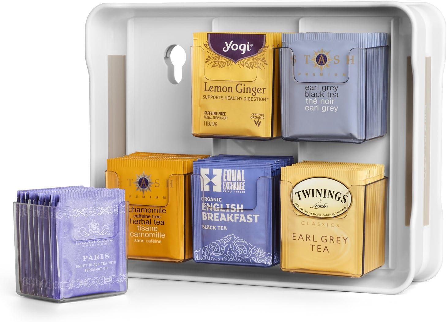 YouCopia 50236 New TeaStand 100+ Tea Bag Organizer, White, one size