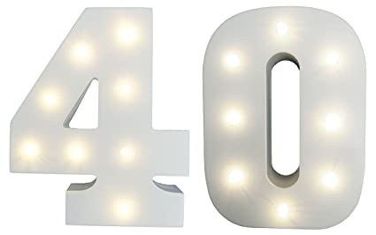 822a4d742b3 40th Birthday   Ruby Wedding Anniversary LIGHT-UP Numbers Party Lights -  White Wood LED Light Up Number ...
