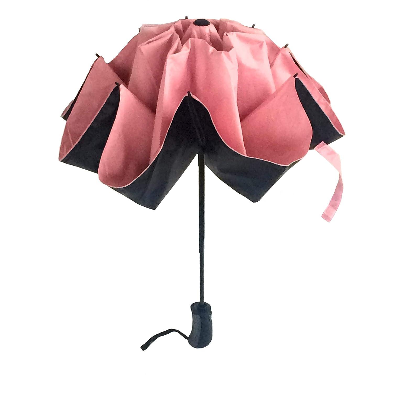 Ombrello Inverso Portatile Pieghevole 2a Generazione Automatico Antivento Mini Reversibile Resistente Leggero Doppio Strato Rosa Shock