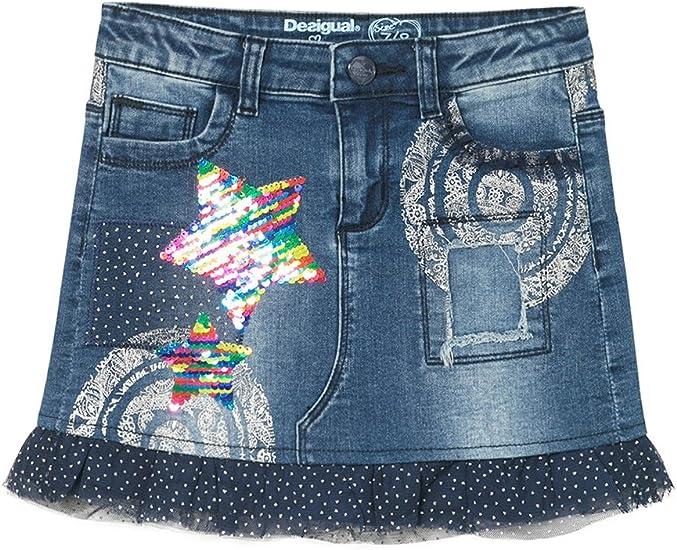 Desigual Fal_rosseau, Falda para Niñas, Azul (Jeans 5006) 128 ...