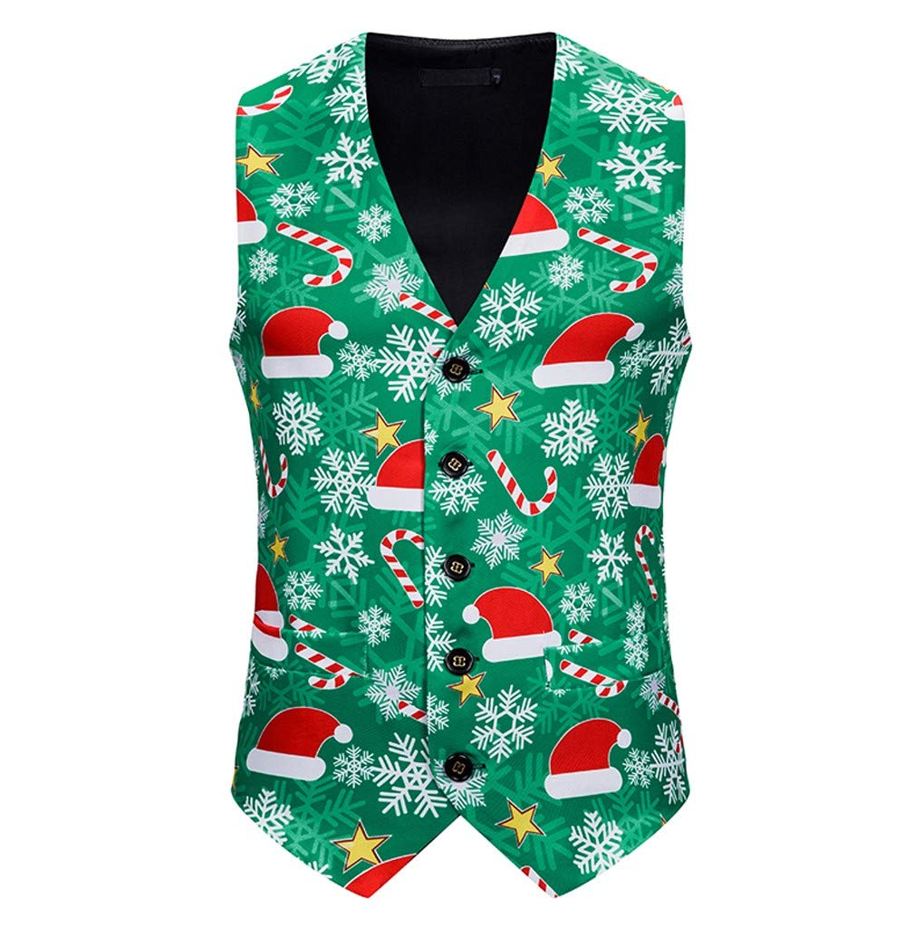 Mens Fashion Banquet Business Casual Christmas Printing Waistcoat Tops Vest for Men Green by Tigivemen Tops