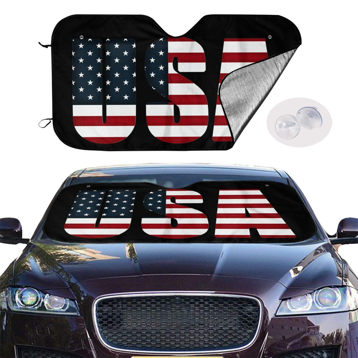 Car Windshield Sunshade Foldable UV Resistant Sun Protection Keeps The Car Cool and Comfortable for Most Car SUV Trucks USA Flag by VvwSaWUgQL