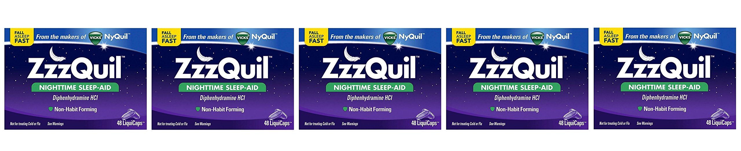 ZzzQuil Nighttime CPpYat Sleep Aid, 48 LiquiCaps (Pack of 5)