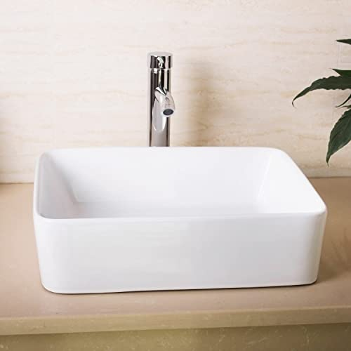 Walcut USBR1028 Bathroom Rectangle White Lavatory Porcelain Ceramic Vessel Vanity Sink Art Basin Chrome Faucet