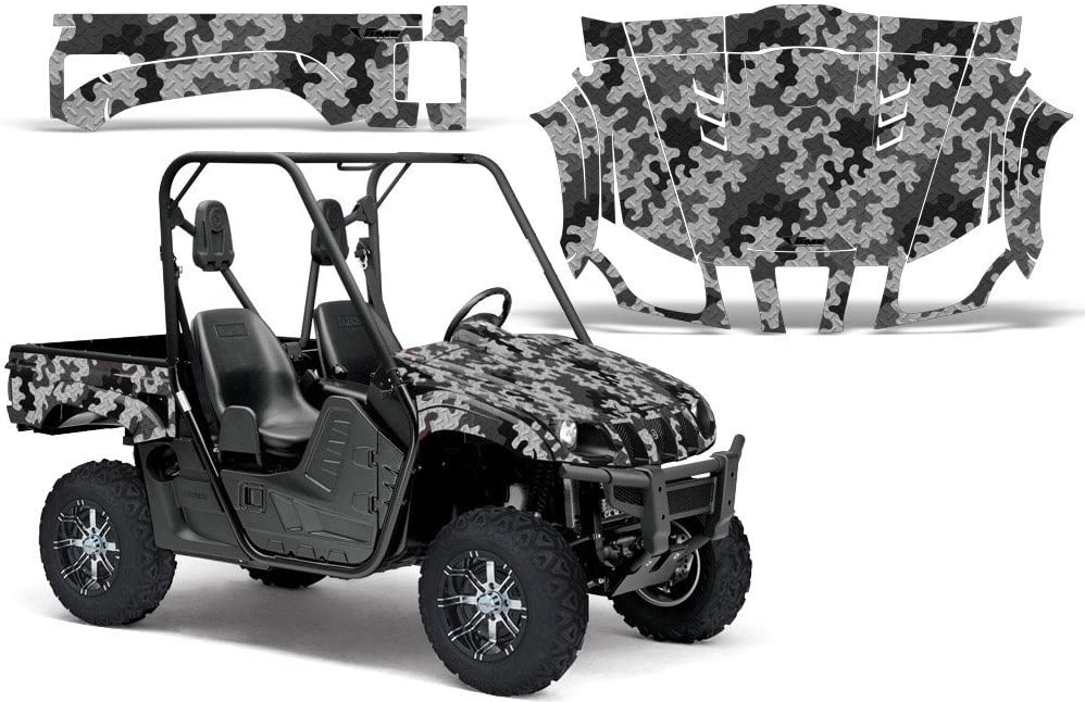 2004-2013 Yamaha Rhino 450//660//700 AMRRACING SXS Graphics Decal Kit:Camo Plate-Black