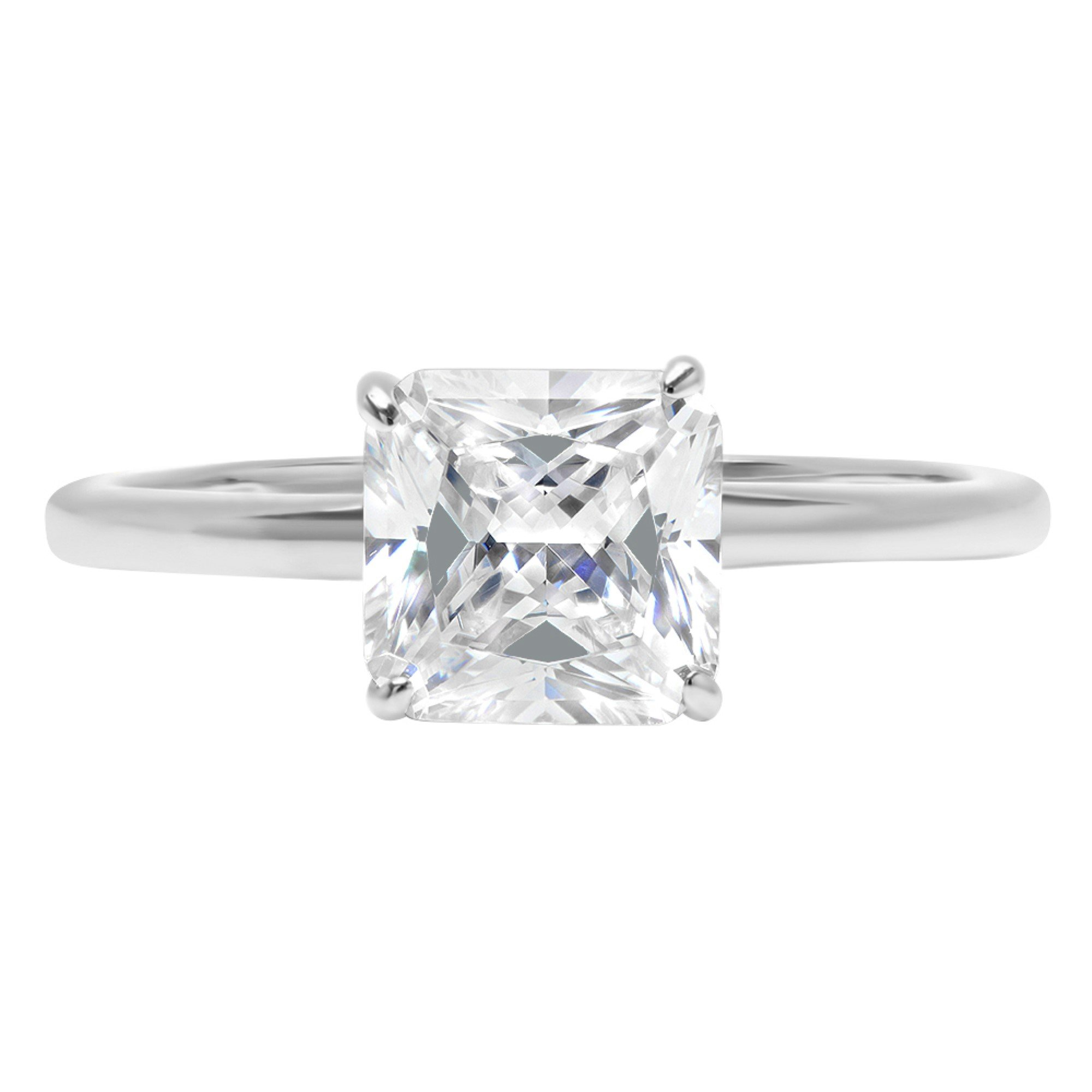 Asscher Brilliant Cut Classic Solitaire Designer Wedding Bridal Statement Anniversary Engagement Promise Ring Solid 14k White Gold, 1.7ct, 5.25 by Clara Pucci
