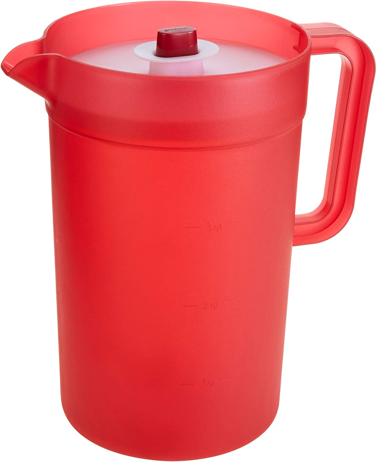 GoodCook 1 Gallon Plastic Pitcher with Vacuum Suction Seal Lid, juice, water, mixed drinks, Clear and Red