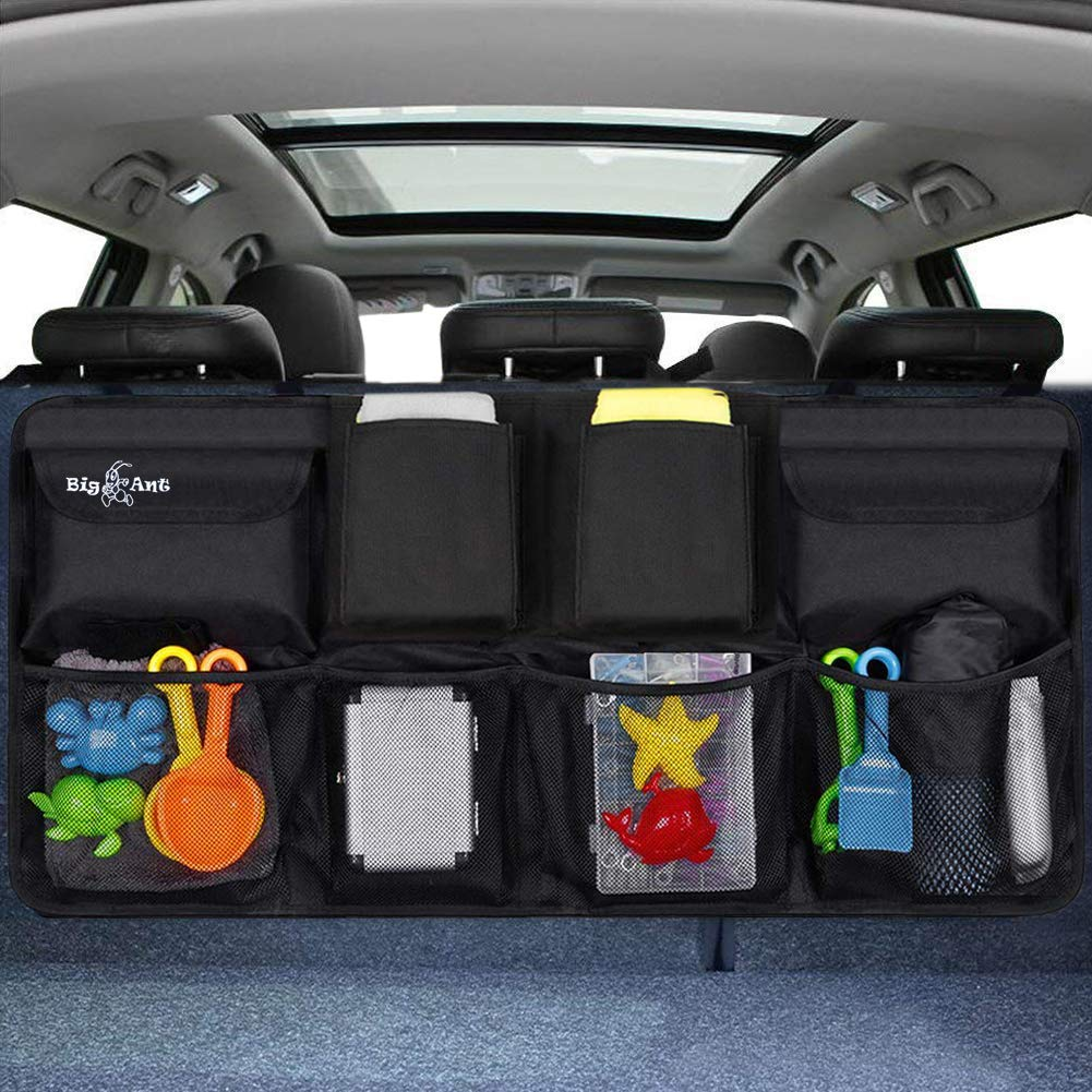 Big Ant Back Seat Trunk Organizer,Space Saving Car Trunk Storage Organizer with Lid Keep Your Trunk Clean and Tidy 8 Large Pockets Car Organizer for Kids,Travel (34 x 18 inch) by Big Ant
