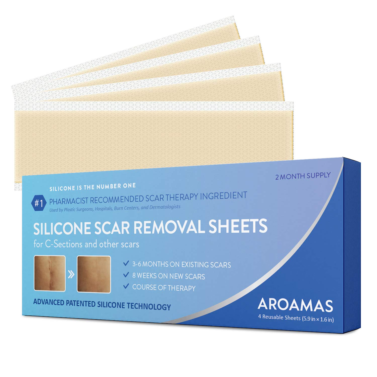 Aroamas Professional Silicone C-Section Scar Removal Sheets, Soft Adhesive Fabric Strips, Drug-Free, Relieves Itching, Remove Keloid Scars, Acne. 5.9'' ✕ 1.6'', 4 pcs (2 Month Supply), Beige