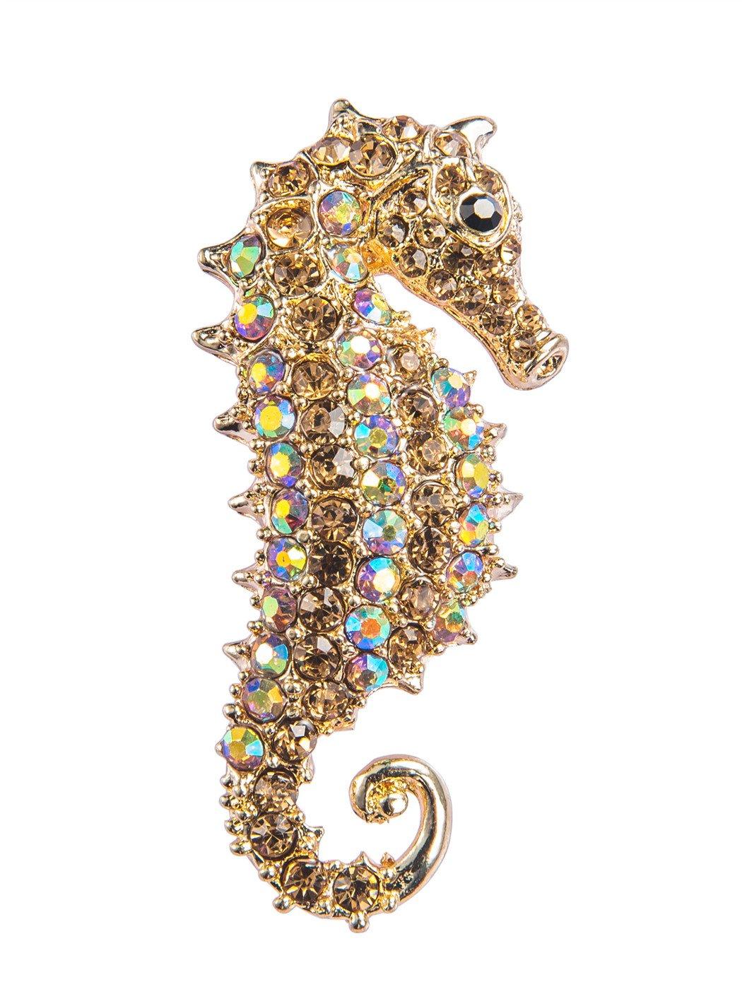 Alilang Aurora Borealis Crystal Rhinestone Seahorse Fish Convertible to Pendant Animal Brooch Pin, Yellow