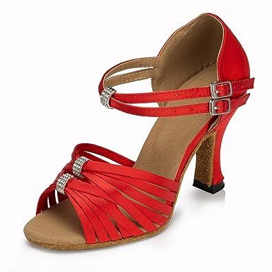 Meijili Women's Shoes Salsa Tango Latin Modern Ballrom Dance Shoes Red UK 3.5 V3O3FwM51