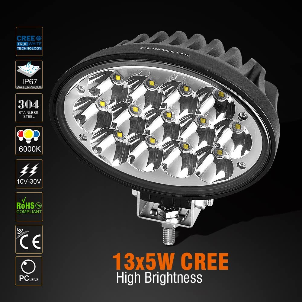 Heavy Duty Agricultural Tractors Trucks Boats Head Lamp Primelux 1 Pcs 6.5-inch 13x5W 5850lm CREE LED Work Light For John Deere Tractors//Combines//Harvesters//Hay Cuttings//Sprayers Spot Beam