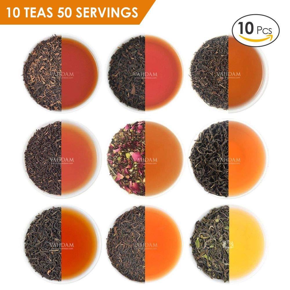VAHDAM, 10 BLACK TEA SAMPLER, 50 cups Assorted Tea–Darjeeling Tea, Black Assam Tea, Black Tea Earl Grey, English Breakfast Blend –Hot Tea Sampler, Flavored Tea Variety Pack, Loose Tea Sampler Gift Set