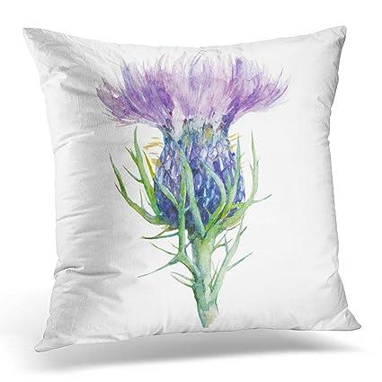 Purple Flower Cushion Cover Watercolor Painting Flowers Home Decorative Throw Pillow Cover Cotton Linen Sofa Chair Pillow Case Home Textile Home & Garden