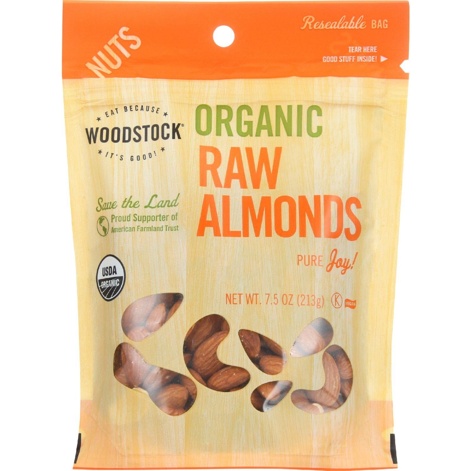 Woodstock Nuts - Organic - Almonds - Raw - 7.5 oz - case of 8 - 95%+ Organic - Vegan