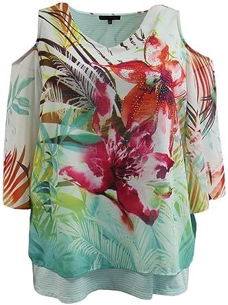 cadc679188efae Plus Size Women's Cold Shoulder Floral Open Back Style Blouse Tee T-Shirt  Fashion Top
