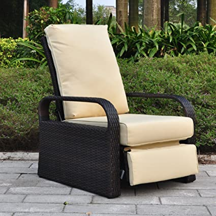 Stupendous Outdoor Patio Wicker Adjustable Recliner Chair Rust Resistant Aluminum Frame With 5 11 Cushions Brown And Khaki Machost Co Dining Chair Design Ideas Machostcouk