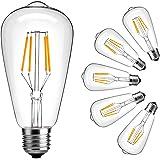 Dimmable Vintage Edison Light Bulb,LuminWiz 4W ST64 Antique Style LED Bulb Filament Light,2700K,E26 Medium Base Lamp,330 Lumens,SoftWarm,6-Pack