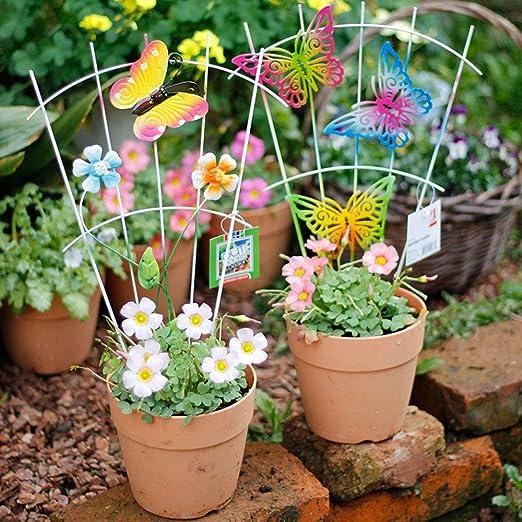 Sungmor 6 Piezas de Forma de Valla de jardín de Hierro en Palos Decoración de jardín en Miniatura | Sulptures Coloridos en los Palillos Flor Planta Maceta decoración: Amazon.es: Jardín