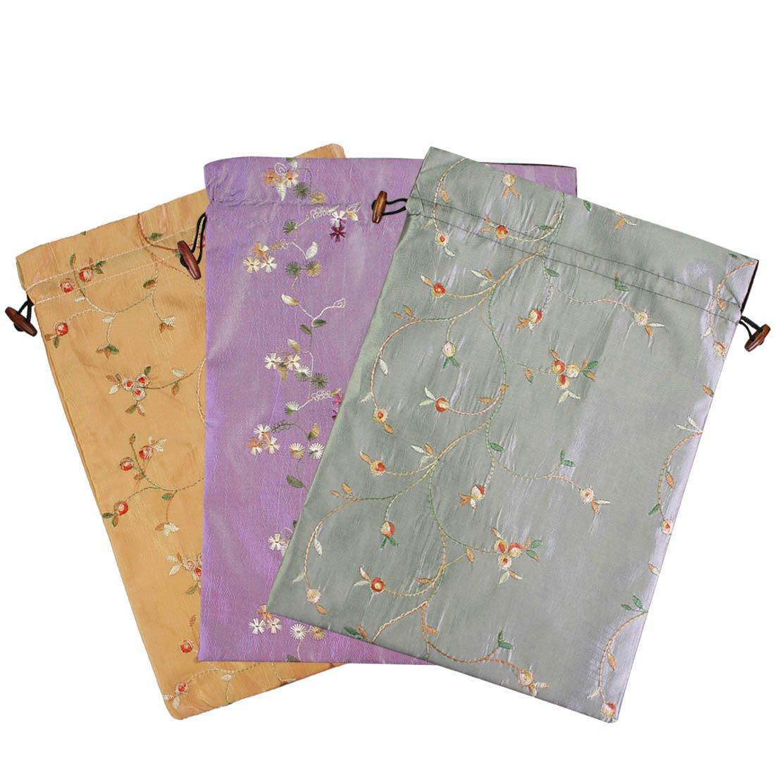 Lingerie /& Shoes Value Set of 3 kilofly Embroidered Silk Jacquard Travel Bag