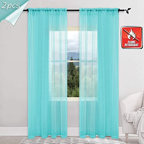 KEQIAOSUOCAI 2 Panels Flame Retardant Sheer Curtains for Hospital Office School Nursery Turquoise 52Wx95L