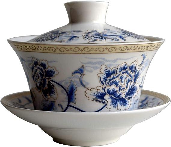 Gaiwan Sancai Chinois Sancai Tasse /à th/é en fil dor d/élicat 170 ml