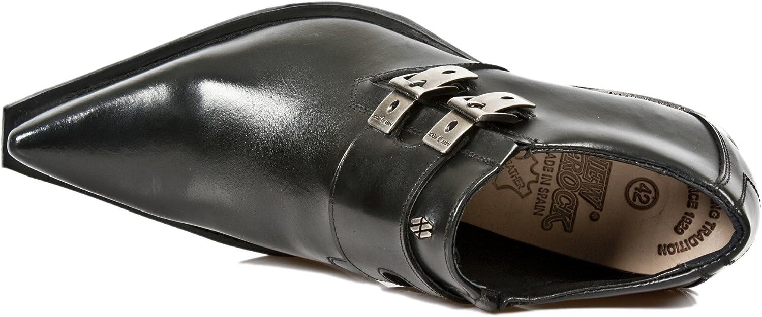 Nouveau Rock 7934 S1 Noir Métallique Cuir Boucle Ouest Acier Chaussures à Talon Bottes