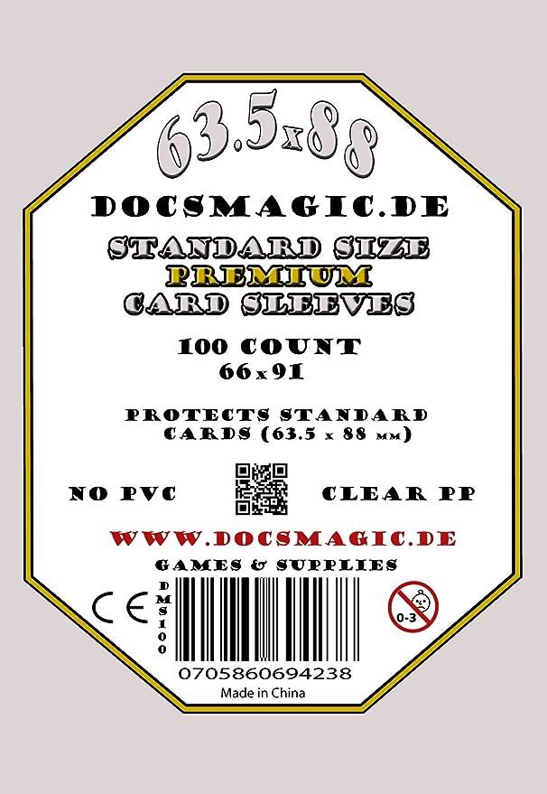 66 x 91 100 docsmagic.de Board Card Game Sleeves Clear 63,5 x 88 Standard