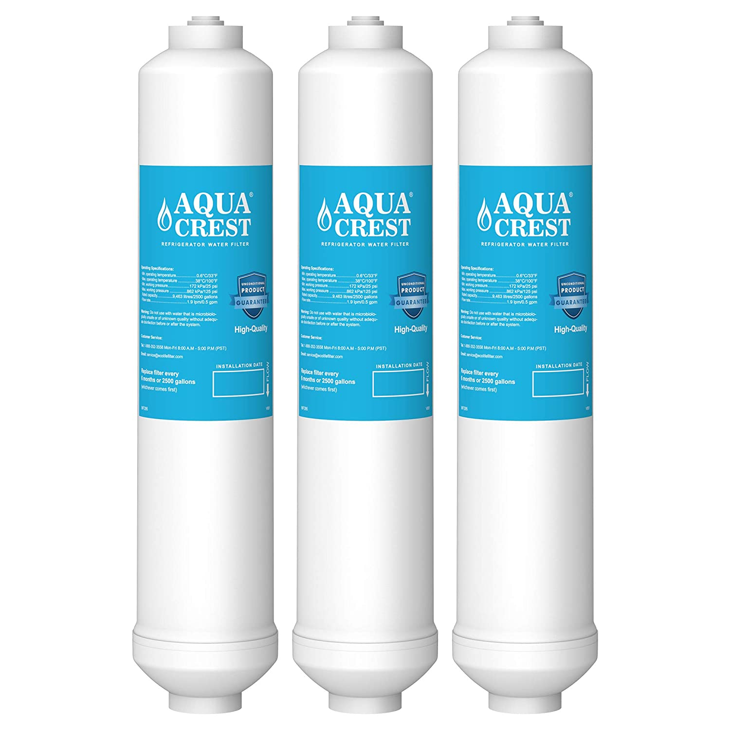AQUACREST Replacement GXRTDR Exterior Refrigerator Icemaker Water Filter, Compatible with GE GXRTDR, Samsung DA29-10105J, Whirlpool WHKF-IMTO (Pack of 3)