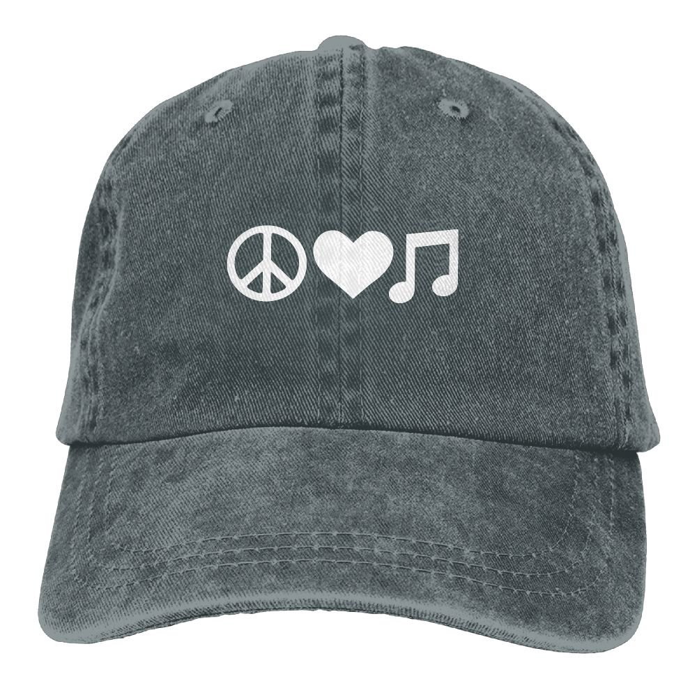 Peace Love and Music Dad Hat Adjustable Denim Hat Classic Baseball Cap