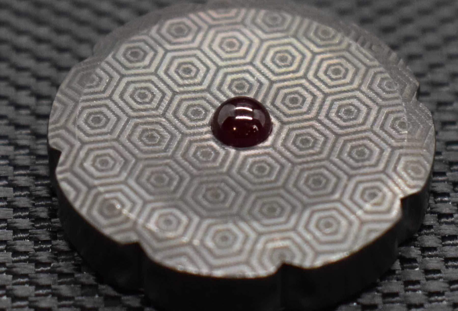 MetonBoss Worry Coin Black Zirconium & Ruby Bearing   Everyday Carry Gear   Precision-Made and Desktop Display by MetonBoss (Image #4)