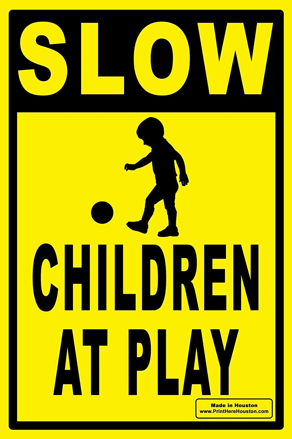 12'' x 18'' SLOW - CHILDREN AT PLAY Caution Yard Sign - Lawn Sign w/ Metal Stake