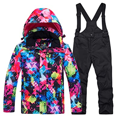 ce39cf63d Skisuit Children Snowboard Suit Boys and Girls Winter Outdoor Sports  Windproof Waterproof Jacket and Pants Set