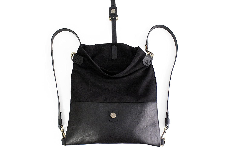 Roby BACKPACK, mochila de tela y piel, mochila de tela y cuero, negro: Amazon.es: Handmade