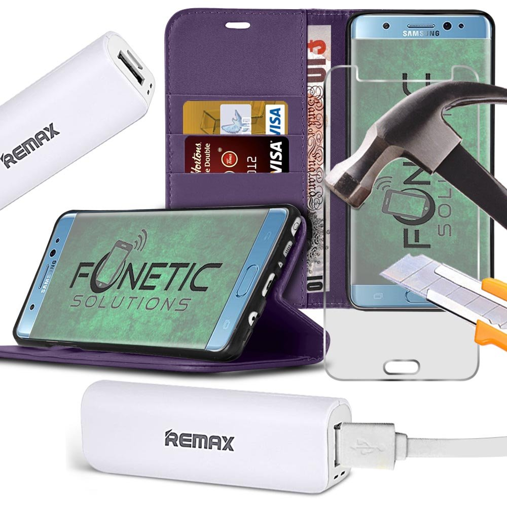 Fonetic Solutions Etui Portefeuille + Verre + Power Bank Huawei Honneur 9  Lite Supreme Essentials Lot [Red] Wallet Case+Tempered Glass+Power Bank Fonetic Solutions®