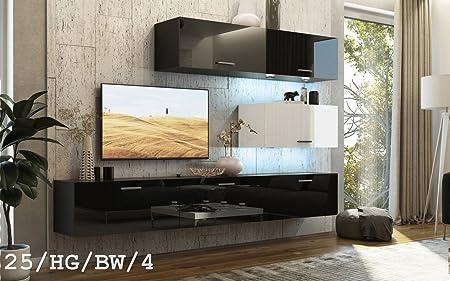 HomeDirectLTD Moderno Conjunto de Muebles de salón Concept 25, Muebles para Sala de Estar, Modernos Muebles modulares con Iluminación LED Opcional (25_HG_BW_4, LED Blanco): Amazon.es: Hogar
