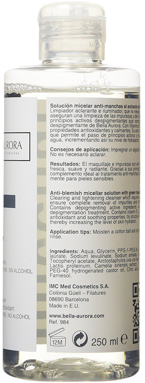 Amazon.com : BELLA AURORA Bclean Anti-dark spots Micellar Solution 250ml : Beauty