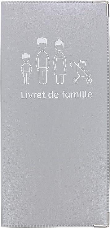 Funda para Libro de Familia Gris Plata, fabricación Francesa, Piel sintética, portadocumentos, Refuerzo de Metal: Amazon.es: Equipaje