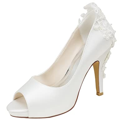 Emily Bridal Hochzeit Schuhe Seide High Heel Peep Toe Perlen Detail Slip on Pumps