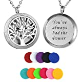 HooAMI Aromatherapy Essential Oil Diffuser Necklace - Stainless Steel Message Pendant Locket Jewelry,12 Refill Pads
