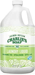 Charlie's Soap Laundry Liquid (160 Loads, 1 Pack) Natural Deep Cleaning Hypoallergenic Laundry Detergent – Safe, Effective and Non-Toxic