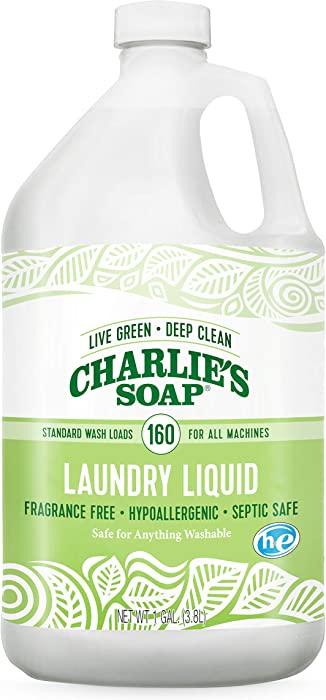 Charlie's Soap – Fragrance-Free Laundry Liquid detergent – 160 Loads (128 oz, 1 Pack)