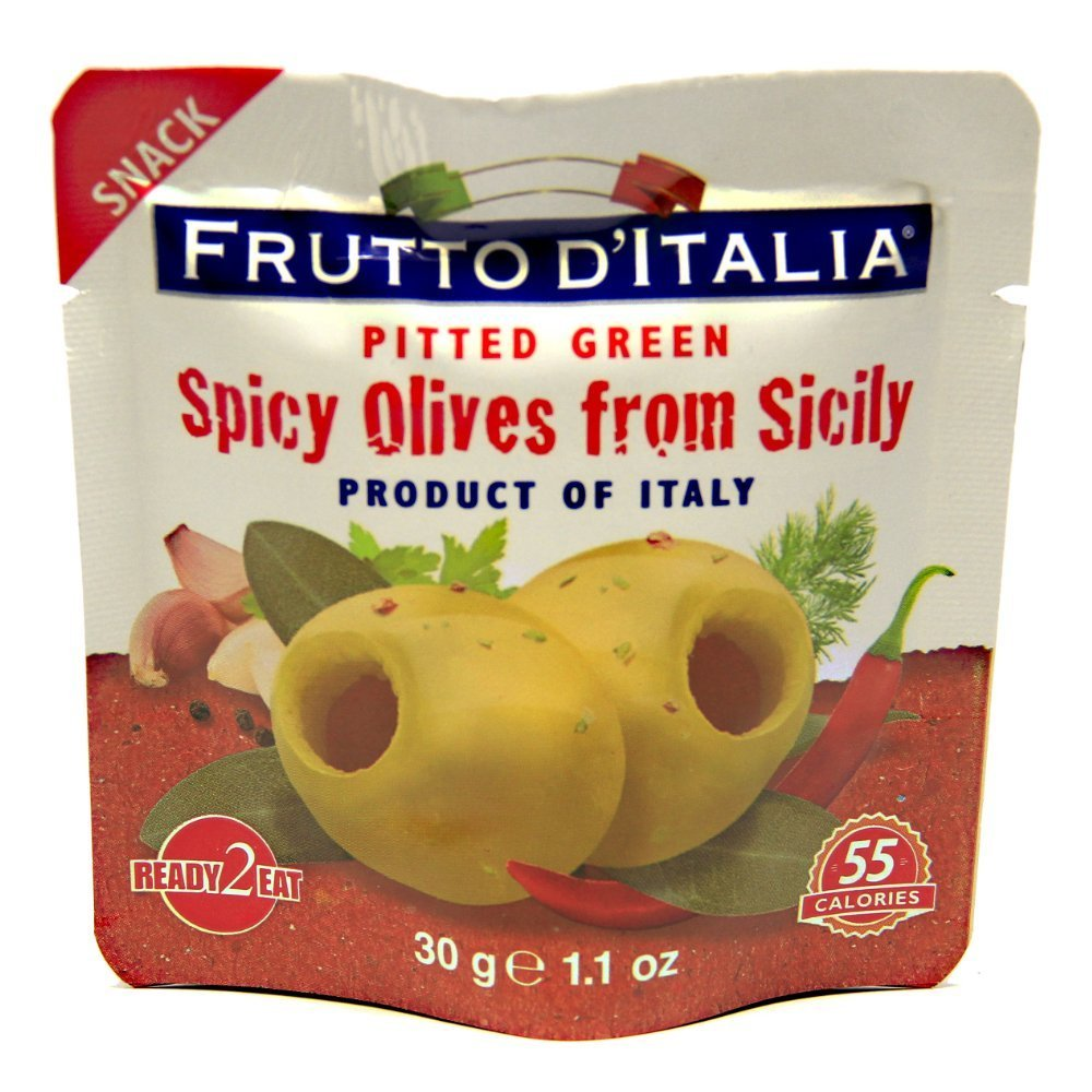 Green Spicy Pitted Olives in Pouch, 1.1 Ounce (Pack of 20)